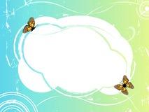 Blocco per grafici di verde blu con le farfalle 2 Immagini Stock
