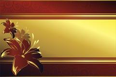 Blocco per grafici dorato con i fiori rossi Immagini Stock