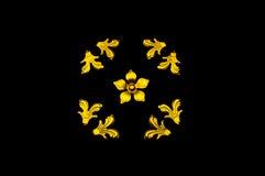 Blocco per grafici dorato del fiore Fotografie Stock