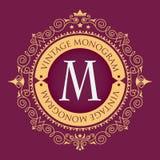 Blocco per grafici dorato Monogramma grazioso alla moda Emblema di lusso d'annata Modello calligrafico elegante sul logo di vetto illustrazione vettoriale