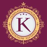 Blocco per grafici dorato Monogramma grazioso alla moda Emblema di lusso d'annata Modello calligrafico elegante sul logo di vetto royalty illustrazione gratis
