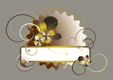 Blocco per grafici elegante decorato con i fiori ed i branelli Fotografia Stock