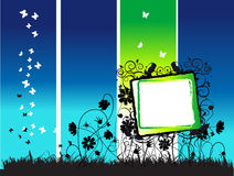 Blocco per grafici, fiori e farfalle astratti di estate Fotografia Stock