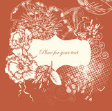 Blocco per grafici floreale con i fiori disegnati a mano Immagine Stock Libera da Diritti