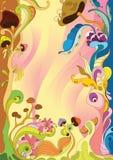 Blocco per grafici floreale con il fungo Fotografia Stock