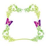 Blocco per grafici floreale della natura con le farfalle Fotografia Stock