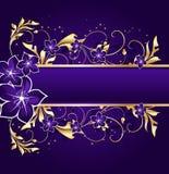 Blocco per grafici floreale dorato Immagini Stock