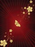 Blocco per grafici floreale dorato Fotografia Stock Libera da Diritti