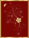 Blocco per grafici floreale dorato Fotografie Stock Libere da Diritti