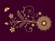 Blocco per grafici floreale dorato Immagini Stock Libere da Diritti