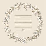 Blocco per grafici floreale i retro fiori hanno sistemato in una forma della corona per gli inviti e le carte di nozze Immagine Stock Libera da Diritti