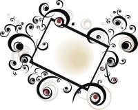 Blocco per grafici floreale nero Immagine Stock