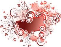 Blocco per grafici floreale rosso Fotografia Stock