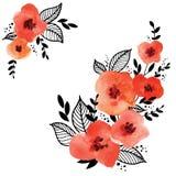 Blocco per grafici floreale rosso di vettore illustrazione di stock