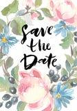 Blocco per grafici floreale Una corona delle rose dell'acquerello Conservi l'iscrizione della data Perfezioni per gli inviti ed i Fotografia Stock