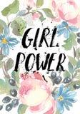 Blocco per grafici floreale Una corona delle rose dell'acquerello Iscrizione di potere della ragazza Perfezioni per gli inviti ed Immagine Stock