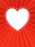 Blocco per grafici a forma di del cuore in bianco su priorità bassa rossa Immagini Stock