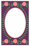 Blocco per grafici ovale blu con le rose Fotografia Stock Libera da Diritti