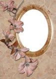Blocco per grafici ovale con il fiore Fotografie Stock