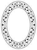 Blocco per grafici ovale nero ornamentale floreale orientale illustrazione vettoriale