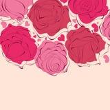Blocco per grafici romantico delle rose Fotografia Stock