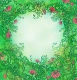 Blocco per grafici romantico verde con le rose Illustrazione di Stock