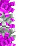 Blocco per grafici rosa e d'argento del nastro isolato su fondo bianco Fotografia Stock