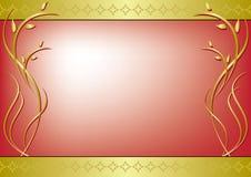 Blocco per grafici rosso con la decorazione dorata Immagini Stock Libere da Diritti