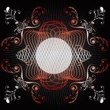 Blocco per grafici rosso decorato dell'emblema di turbinio Immagini Stock Libere da Diritti