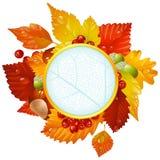 Blocco per grafici rotondo d'autunno con il foglio di caduta, castagna, aco Fotografie Stock