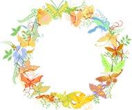 Blocco per grafici rotondo dalle farfalle e dalle piante royalty illustrazione gratis