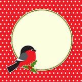 Blocco per grafici rotondo di natale con il bullfinch royalty illustrazione gratis