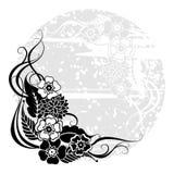 Blocco per grafici rotondo floreale grigio Immagini Stock