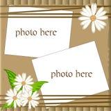 Blocco per grafici scrapbooking di vettore con la camomilla Fotografie Stock Libere da Diritti