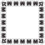 Blocco per grafici stilizzato con le farfalle ed i fiori Fotografia Stock Libera da Diritti