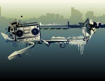 Blocco per grafici urbano di musica Fotografia Stock Libera da Diritti
