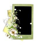 Blocco per grafici verde con i fiori di melo Fotografia Stock Libera da Diritti