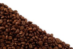 Blocco per grafici vuoto diagonale dei chicchi di caffè Fotografia Stock