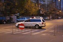 Blocco stradale della polizia Immagini Stock