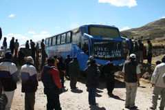 Blocco stradale peruviano Fotografia Stock Libera da Diritti