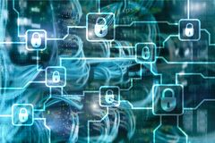 Blochain information encryption. Cyber security, crypto currency.  stock image