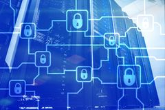 Blochain information encryption. Cyber security, crypto currency.  stock photo