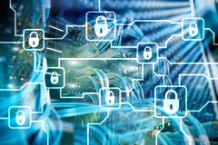 Blochain information encryption. Cyber security, crypto currency.  royalty free stock images