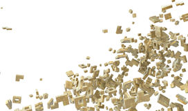 Block Abstract. Pile of abstract 3d blocks, over white, horizontal Royalty Free Stock Images