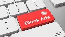 Block ads. Text on keyboard button Stock Images