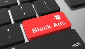 Block ads concept. Block ads text on keyboard button royalty free illustration