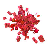 Block alphabet font exploded in pink red Stock Image
