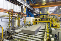 Block of aluminum platten pressing machine Royalty Free Stock Photo