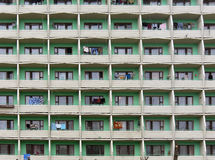 Block of apartments. Pattern from different balconies at block of cheap apartments in Belarus Royalty Free Stock Photo