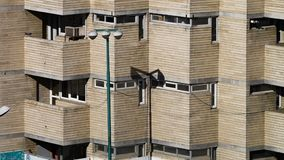 Block of apartments in Tabriz, Iran. Still of a block of modern apartments in Tabriz, Iran. Showing three floors and several balconies stock video footage
